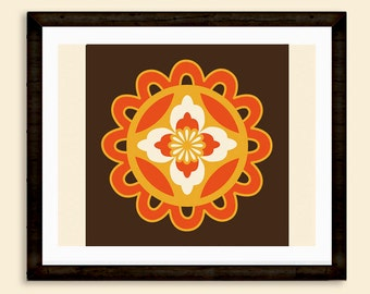 Oriental style, Striking Eastern motif, Chinese Pattern in Orange, Gold and Chocolate Brown, Living Room Art, INSTANT DOWNLOAD
