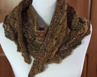 Hand-spun, hand-knit shawlette