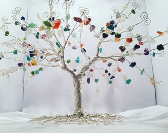 Wire tree sculpture, wire gemstone tree, gemstone tree, tree of life, tree of life sculpture, birthstone, gift, sculpture, tree sculpture.