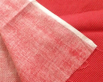 Red with white poka dots cotton blend Fabric, 4 yards x 40 inches