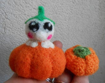 Baby felted pumpkin.
