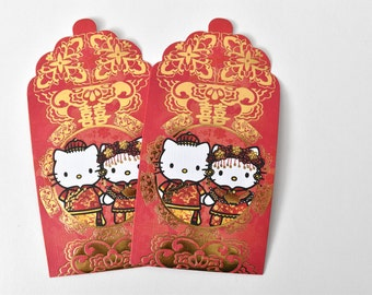 Double Happiness Hello Kitty Dear Daniel Bride + Groom Lai See/Money Packet - Red - Mini Size