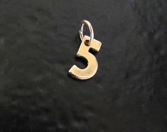 Numéro de charme, n'importe quel charme chiffre d'or numéro 14k, 14 k jaune, blanc ou Or Rose, votre numéro de chance