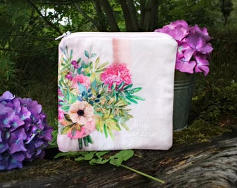 Floral purse, small pink pouch, idea gift bride, floral fabric coin purse, zipper coin purse, small vegan wallet, women pouch, card holder