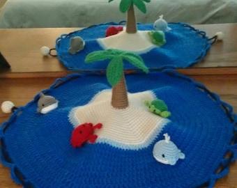 Preschool play mat, travel toy, crochet, ocean play set, sea creatures