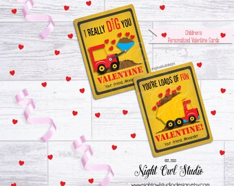Valentine's Day Cards, Children's Construction Valentine Cards, Personalized, Classroom Cards, Printable