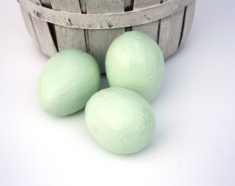 Shabby Cottage Chic Aloe Green Paper Mache Eggs