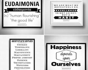 DIGITAL DOWNLOAD QUOTES 4 Aristotle quotes   Ancient Greek philosopher   Stoic philosophy   Greek art   Ancient Greece   Stoicism art print