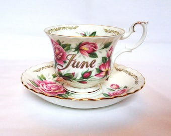 Vintage tea cup and saucer - June - Flower of the month - June birthday present -  Gemini - Cancer