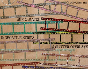 """Digital Scrapbook Elements - """"On The Strip"""" digital film strip pieces with glitter for framing photos on digital scrapbook layouts"""