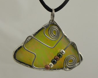 Iridized Yellow  Stained Glass Fan Shaped Pendant with Wire and Beads
