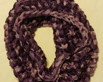 chunky cowl, purple and plum cowl, thick women's cowl