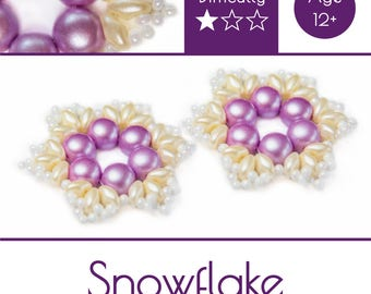"""Exclusive beading Kit for making two jewelry DIY """"Snowflake"""" (Pink-Beige) (SNW012)"""