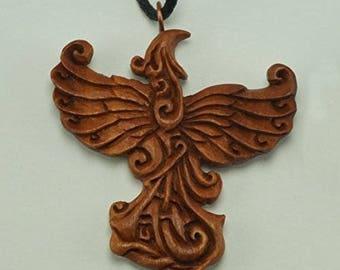 Raising Phoenix Necklace, Sono Wood Raising Phoenix Pendant