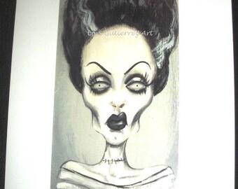 Bride of Frankenstein Greeting Card - Lori Gutierrez OOAK Art!!
