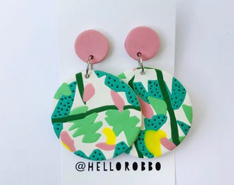 The Beach Boy - Polymer clay statement dangle earrings