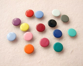 50 sets, Mixed Colors (15 colors) Capped Prong Snap Button, Size 14L (8.5 mm)