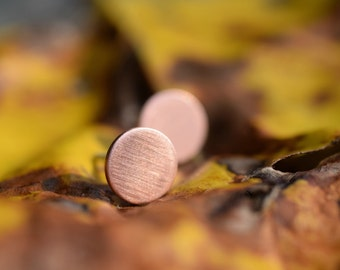 Brushed Copper Stud Earrings - Everyday Basics - Unisex Studs - Solid Copper - Fall Fashion - For Him - For Her - Copper Studs - Autumn