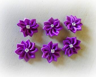 6 appliques 25 mm purple satin ribbon flower