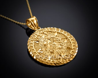10K Gold Aztec Mayan Sun Calendar Pendant Necklace (yellow, white, rose gold)