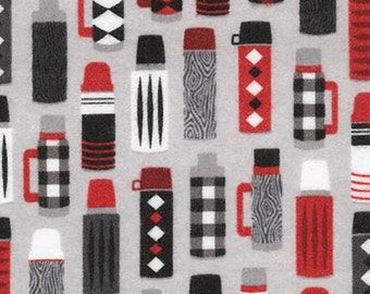 Quilting Cotton, Burly Beavers Fabric, Thermos Cotton, Hipster fabric, Grey Fabric, Boy Fabric, Robert Kaufman Fabrics
