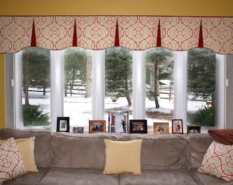 """Custom Wide Width Pleated EMILEE  Hidden Rod Pocket® Valance fits 81""""- 108"""" window, LABOR and lining only, you provide the fabrics"""