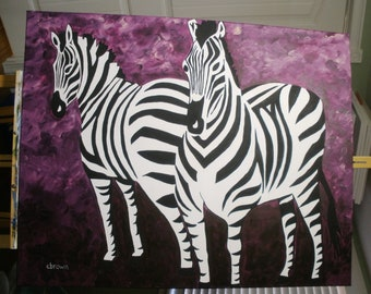 Original Acrylic Painting Zebras Extra Large on Canvas Ultra Violet Pantone Colour of the Year