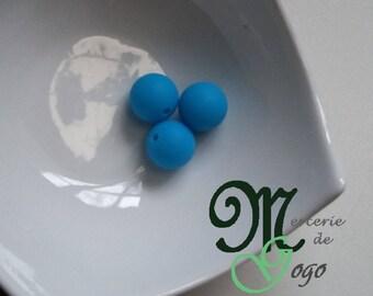 Round silicone bead. Diameter 1.5 cm Blue.