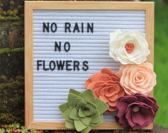 Customizable Interchangeable Letter Board Felt Flowers - Letter Board NOT Included.