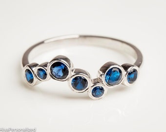Sapphire Jewelry - Birthstone Jewelry - Gemstone Ring - Unique Silver Ring - Dainty Silver Ring - Sapphire Ring - Gemstone Jewelry