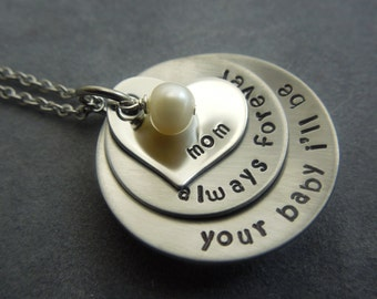 Mother of the Bride gift, Personalized hand stamped stainless steel necklace