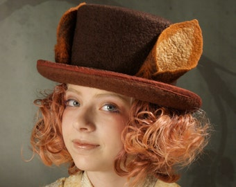 Top Hat With Fox Ears - BrownTop Hat - Fox Ears - Top Hat - Hand Felted Hat - Brown Hat