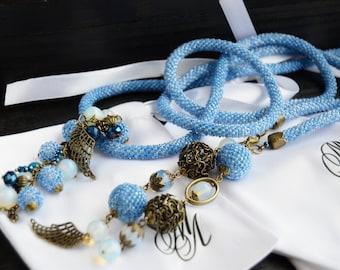 Lariat beaded with pendants, wiring of beads, blue Lariat Jewelry crochet bead Beaded Crochet Necklace Beaded Crochet Lariat