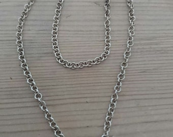 Vintage sterling silver toggle clasp and heart chain necklace
