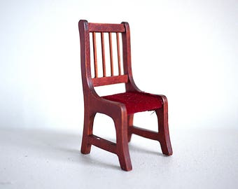 Dollhouse furniture wooden dinning chair l Dollhouse miniature wood chair l Dollhouse 1:12th scale miniature