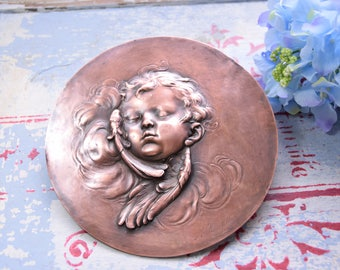 Vintage copper engraving / Old copper engraving / Cupid copper engraving / Copper plate engraving / Angel copper engraving