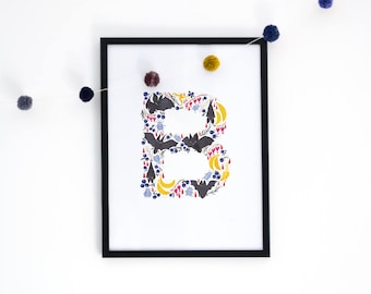 Letter 'B' Art Print, Signed Initial Illustration