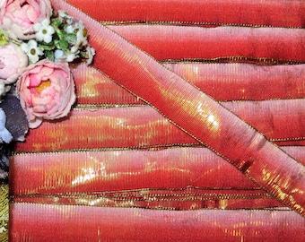 "12"" FRENCH METAL OMBRE Silk Taffeta Ribbon Red Pink Trim Antique 1920s Art Deco Flapper flower ribbonwork  Vintage Doll Dress Millinery Hat"
