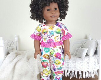 "18 inch doll ""shopkins"" pajamas | pj pants | pajama shirt"