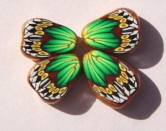 Green Gold Butterfly Wing Handmade Artisan Polymer Clay Beads