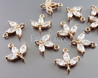 2 CZ Cubic zirconia 3-leaf sprout connectors, crystal rhinestone charms, wedding / bridal jewelry C1760-BRG (connectors)