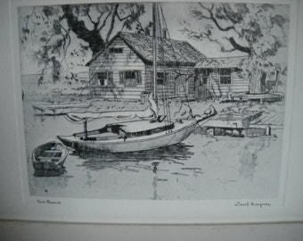 Signed Lionel Barrymore N.C. Coastal Prints, Two Ready to Frame, Pt. Pleasant & Old Red Bank