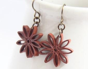 Rust Brown Star Earrings Nine Pointed Star Baha'i Jewelry Niobium Eco Friendly Earrings hypoallergenic