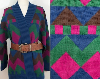 80s Carriage Court Blue Green Pink Multi Color Acrylic Long Cardigan Sweater, XL to Plus Size