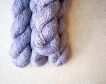SALE - Alpaca+Silk+Linen sock yarn - hand dyed - OOAK Purple/Gray
