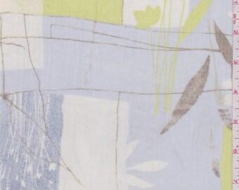 Whisper Blue Botanical Print Crinkled Chiffon, Fabric By The Yard