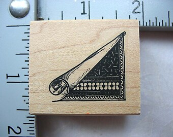Rolled Paper Corner DESTASH Rubber Stamp by Non Sequitur, Used Rubberstamp