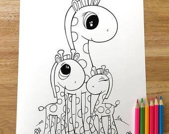 Cute Giraffe Coloring Page! Downloadable PDF file!