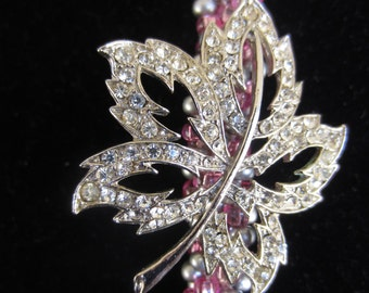 KUMIHIMO BEADED ROPE Necklace Vintage Upcycled Rhinestone SilverToned Leaf Brooch Focal Silver & Pink Spiral  Bead Braid Bridal Prom Gift