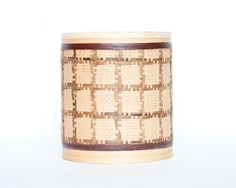 Vintage Lamp Shade, 1960s Mid Century Rattan Grid Woven Lamp